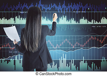 Businesswoman with forex chart