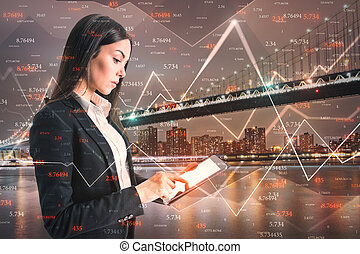 Businesswoman with forex tablet