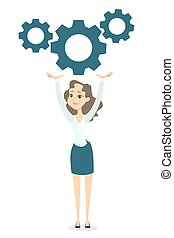 Businesswoman with gears.