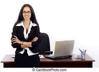 businesswoman with glasses against office desk