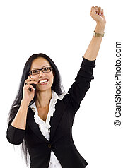 businesswoman with glasses on the phone