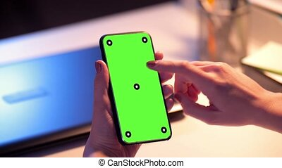 businesswoman with green screen on smartphone - business,...