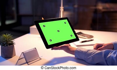 businesswoman with green screen on tablet pc - business,...