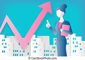 businesswoman with growth concept