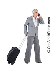 Businesswoman with her luggage and calling someone