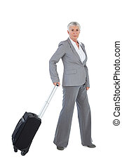 Businesswoman with her luggage