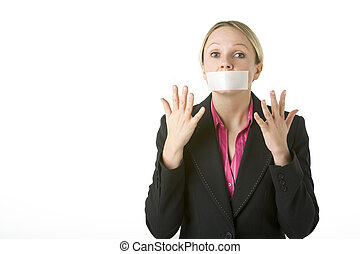 Businesswoman With Her Mouth Taped Shut