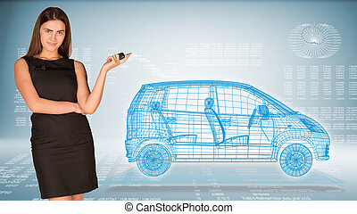 Businesswoman with key and wire frame car. High-tech graphs...