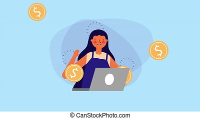 businesswoman with laptop and coins