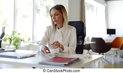 Businesswoman with laptop in her office at the desk, working.