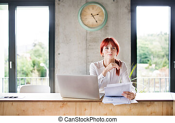 Businesswoman with laptop in her office.