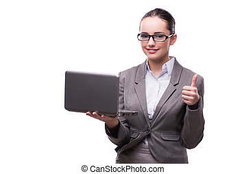 Businesswoman with laptop isolated on white