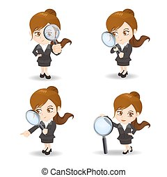 Businesswoman with magnify glass