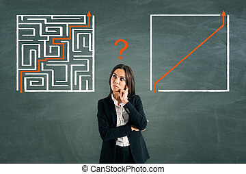 Businesswoman with maze