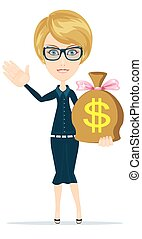 Businesswoman with money bag.