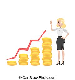 Businesswoman with money growth.