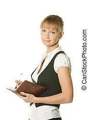 Businesswoman with open notepad