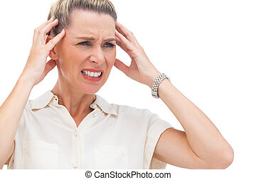 Businesswoman with painful migraine