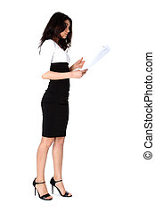 Businesswoman with paper isolated on white