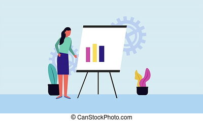 businesswoman with paperboard and statistics avatar...
