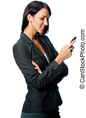 Businesswoman With Phone - An attractive young businesswoman...