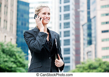 Businesswoman with Phone and File