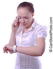 businesswoman with phone and watch