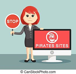 businesswoman with pirates sites