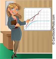 businesswoman with pointer in office