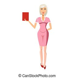 Businesswoman with red book icon, cartoon style