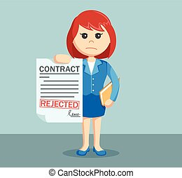 businesswoman with rejected