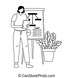 businesswoman with report board presentation folder and plant line style