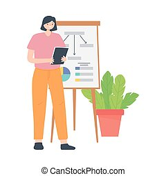 businesswoman with report board presentation folder and plant