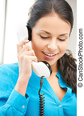 businesswoman with rotary phone calling - picture of...