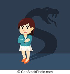 Businesswoman with shadow snake