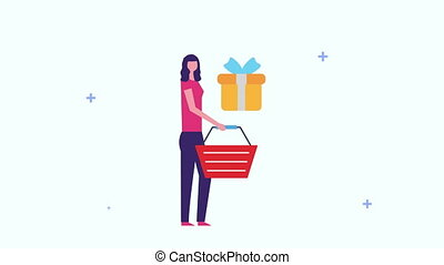 businesswoman with shopping basket and giftbox ,4k video animation