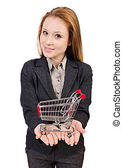 Businesswoman with shopping cart