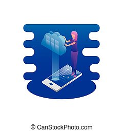 businesswoman with smartphone and cloud computing