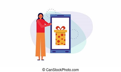 businesswoman with smartphone and gift