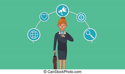 Businesswoman with smartphone HD animation