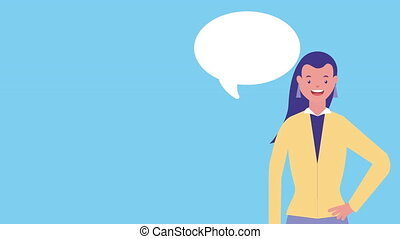 businesswoman with speech bubble avatar character ,4k video...