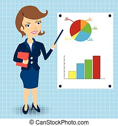 businesswoman with statistic graphs - Cartoon businesswoman...