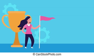 businesswoman with success flag and trophy cup animated ,4k ...