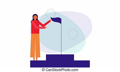 businesswoman with success flag character