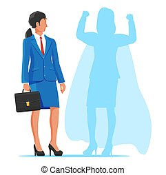 Businesswoman with superhero shadow.