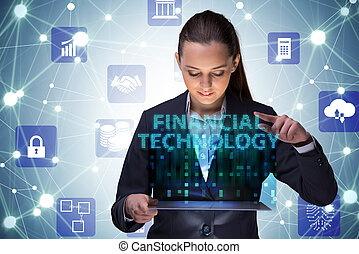 Businesswoman with tablet in financial technology fintech concep
