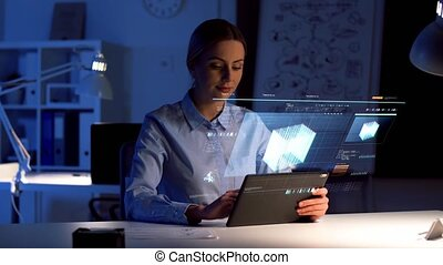 businesswoman with tablet pc and virtual screen - business,...