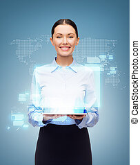 businesswoman with tablet pc and world hologram - business,...