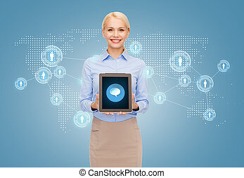 businesswoman with tablet pc computer