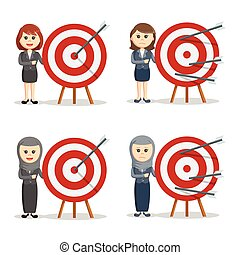 businesswoman with target set